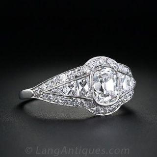1.00 Carat Antique Cushion Cut Diamond Engagement Ring