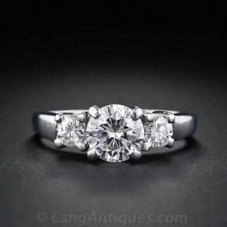 1.00 Carat Classic Three Stone Diamond Engagement Ring - 2