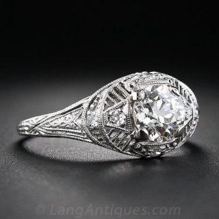 1.00 Carat Diamond and Platinum Antique Engagement Ring