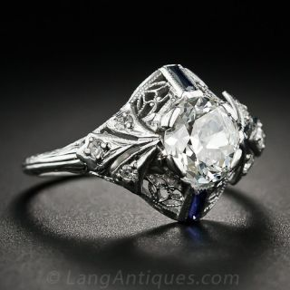1.00 Carat Oval Diamond and Sapphire Antique Engagement Ring
