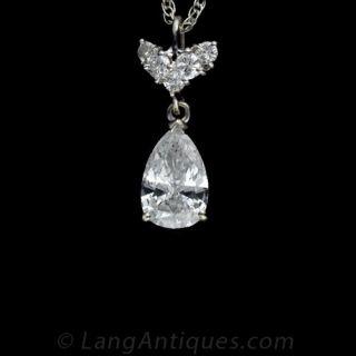 1.00 Carat Pear Shape Diamond Drop