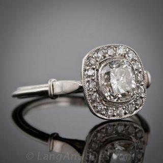 1.01 Carat Cushion Cut Diamond Engagement Ring