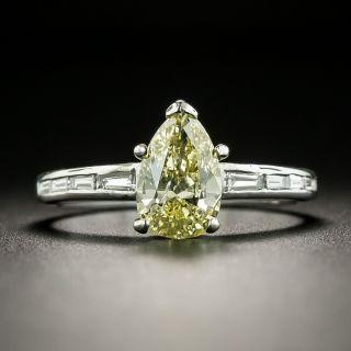 1.01 Carat Natural Fancy Yellow Pear-Cut Diamond Engagement Ring - GIA - 1