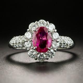 1.01 Carat Ruby Platinum Diamond Ring - 1