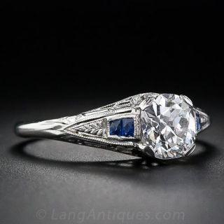 1.02 Carat Antique Cushion Diamond Vintage Engagement Ring