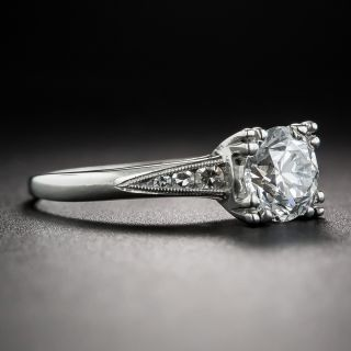 1.02 Carat Diamond Platinum Vintage Engagement Ring - GIA F SI1