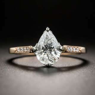 1.02 Carat Pear Shape Diamond Ring By Lang - GIA E SI1 - 1