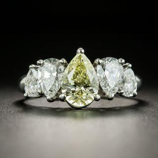 1.04 Carat Natural Fancy Light Yellow Pear-Cut Diamond Ring - GIA - 1
