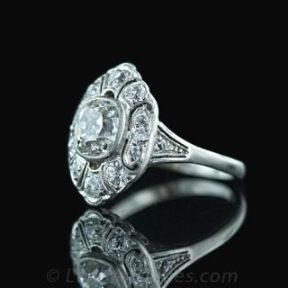1.05 Carat Antique Cushion Cut Diamond Ring