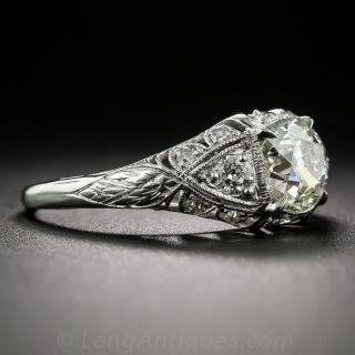 1.05 Carat Antique Cushion-Cut Diamond Vintage Engagement Ring