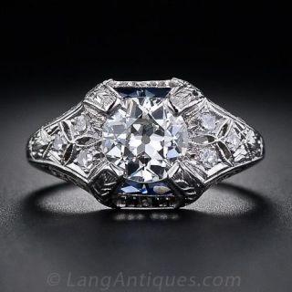 1.05 Carat Art Deco Diamond Engagement Ring with Calibre Sapphires