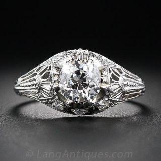 1.06 Carat Antique Cushion-Cut Diamond Engagement Ring