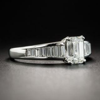 1.06 Carat Emerald-Cut Diamond Platinum Engagement Ring - GIA J VVS2