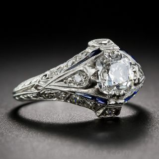 1.07 Carat Cushion-Cut Diamond  Art Deco Engagement Ring
