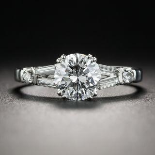 1.07 Carat Diamond Platinum Mid-Century Vintage Engagement Ring - GIA D VS2 - 1