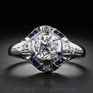 1.08 Carat Art Deco Diamond and Sapphire Art Deco Ring - 1