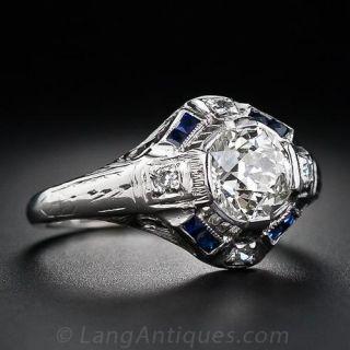 1.08 Carat Art Deco Diamond and Sapphire Art Deco Ring