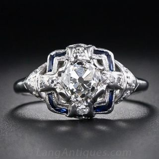1.08 Carat Old Mine Cut Diamond and Sapphire Engagement  Ring
