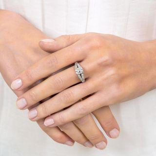 1.11 Carat Antique Cushion-Cut Diamond Vintage Engagement Ring - GIA  D VS1