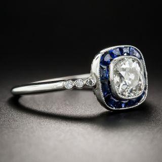 1.12 Carat Cushion-Cut Diamond and Sapphire Halo Ring