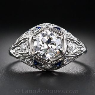 1.13 Carat Art Deco Platinum and Diamond Engagement Ring with Sapphire Accents - 1