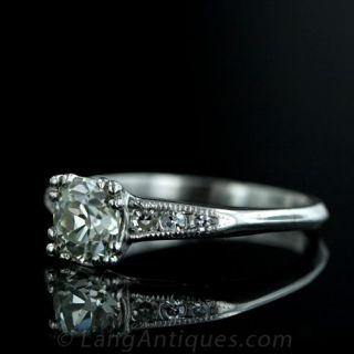 1.15 Carat Antique Cushion-Cut Diamond Ring in Platinum