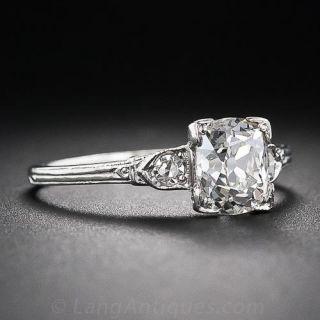 1.17 Carat Antique Cushion-Cut Platinum and Diamond Engagement Ring