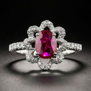 1.17 Carats Natural-No-Heat Ruby and Diamond Ring - 1