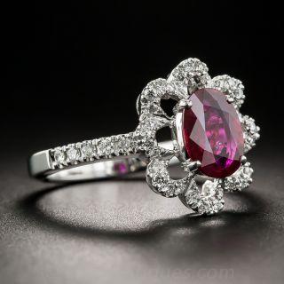 1.17 Carats Natural-No-Heat Ruby and Diamond Ring