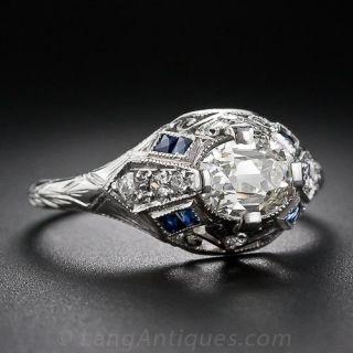 1.19 Carat Diamond Art Deco Engagement Ring