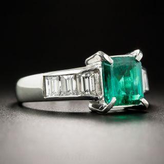 1.20 Carat Colombian Emerald, Platinum Diamond Ring