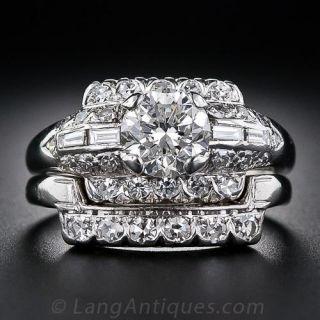 1.20 Carat  G / VS1 Platinum and Diamond Mid-Century Wedding Set - 1