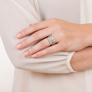 1.20 Carat  G / VS1 Platinum and Diamond Mid-Century Wedding Set