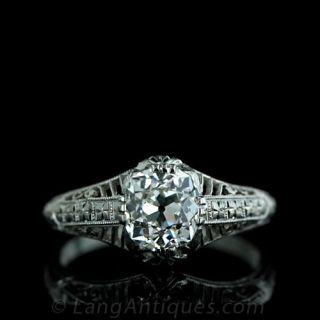 Antique-Cushion-Cut-Diamond-Filigree-Ring-Main-View
