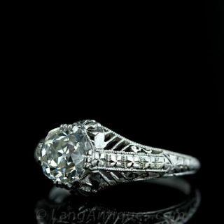 1.21 Carat Antique Cushion Cut Diamond Filigree Ring