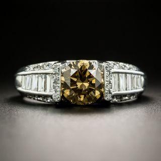1.22 Carat Natural Brown Platinum Diamond Ring - 1