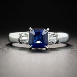 1.22 Carat Square-Cut Sapphire Diamond and Platinum Ring