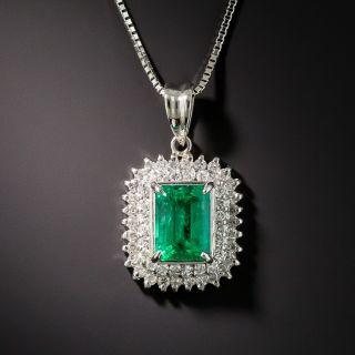 1.24 Ct. Emerald Platinum Diamond Pendant  - 1
