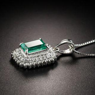 1.24 Carat Emerald Platinum Diamond Pendant
