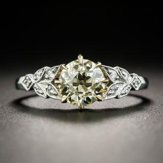 1.24 Carat Fancy Light Yellow Diamond Vintage Style Engagement Ring - GIA - 2