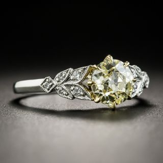 1.24 Carat Fancy Light Yellow Diamond Vintage Style Engagement Ring - GIA