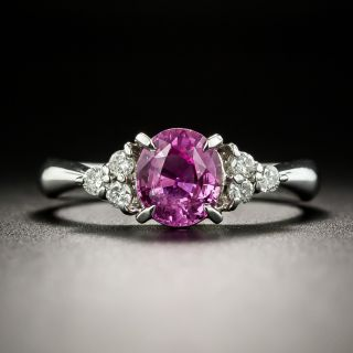 1.24 Carat Pink Sapphire Platinum Diamond Ring - 2