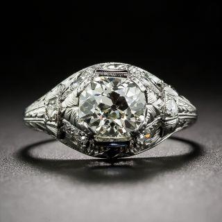 1.25 Carat Antique Cushion-Cut Diamond Art Deco Engagement Ring