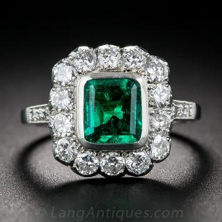 1.25 Carat Emerald, Platinum and Diamond Ring