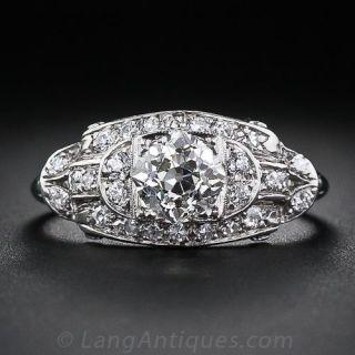 1.25 Carat Platinum and Diamond Art Deco Engagement Ring - 1