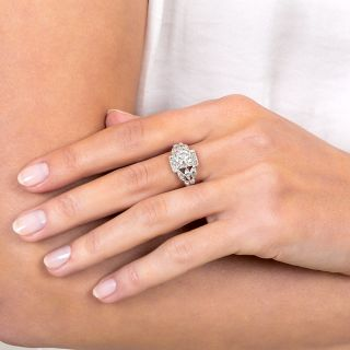 1.28 Carat Platinum Diamond Art Deco Engagement Ring - GIA G VS2