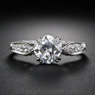 1.29 Carat Cushion-Cut Diamond Engagement Ring