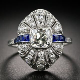 1.30 ct Cushion-Cut Diamond Ring with Sapphires