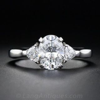 1.32 Carat  'D' Color Oval  Diamond Engagment Ring