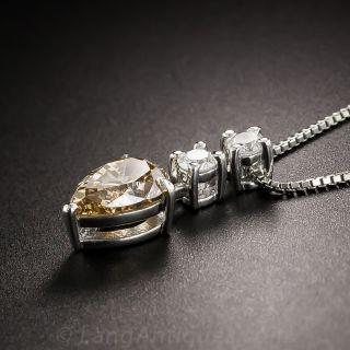 1.33 Carat Natural Brown Pear Shape Diamond Pendant - GIA